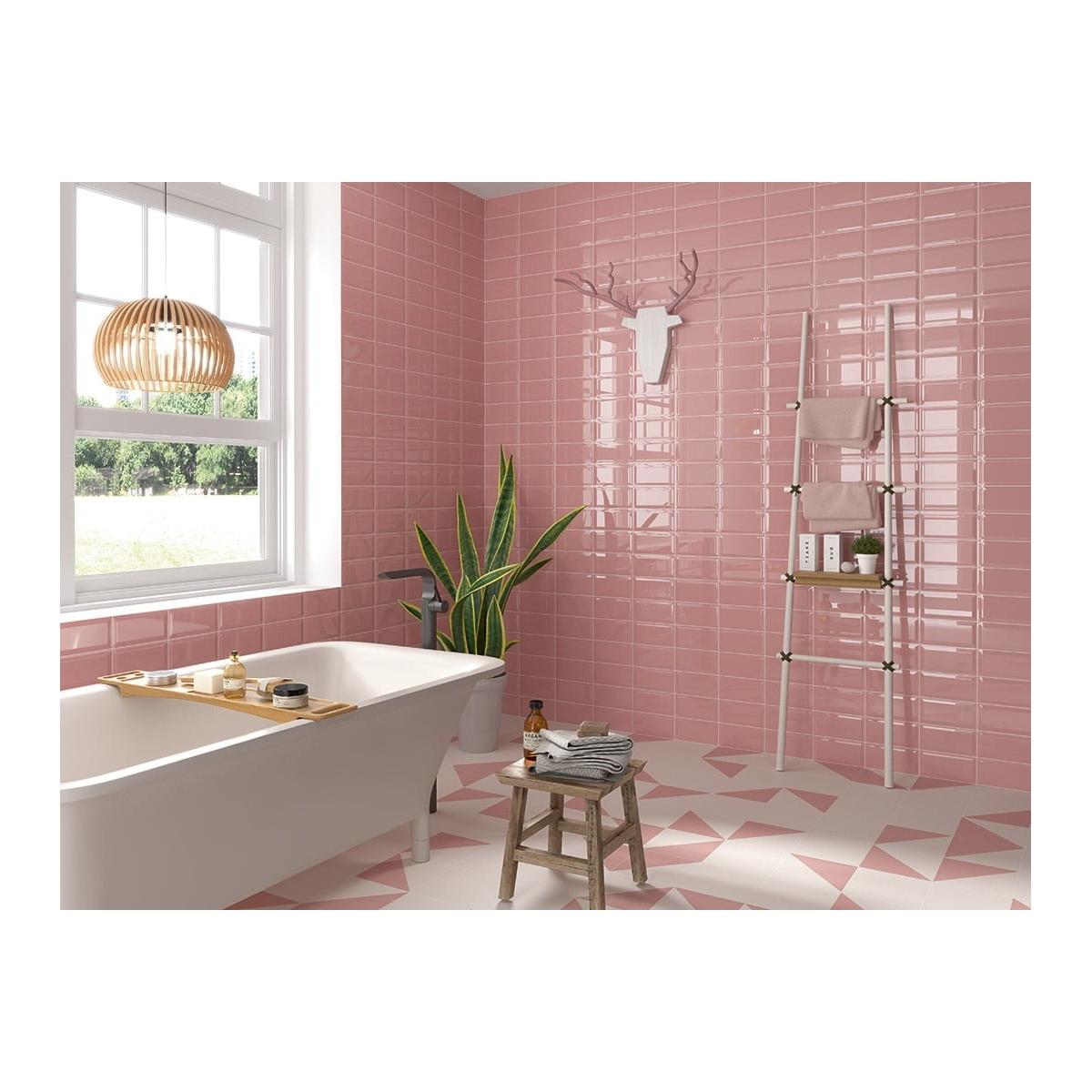 Losetas cerámicas Bissel rosa 10x20 pasta roja monococción