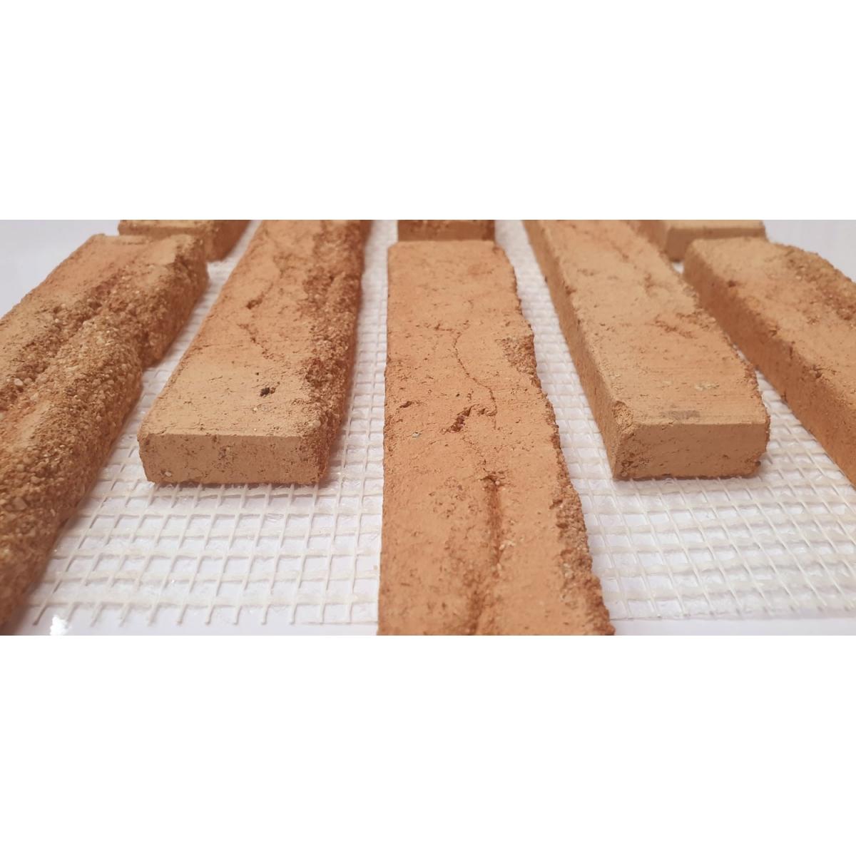 Plaqueta de ladrillo enmallada para revestimiento interior y exterior tono enarenado destonificado