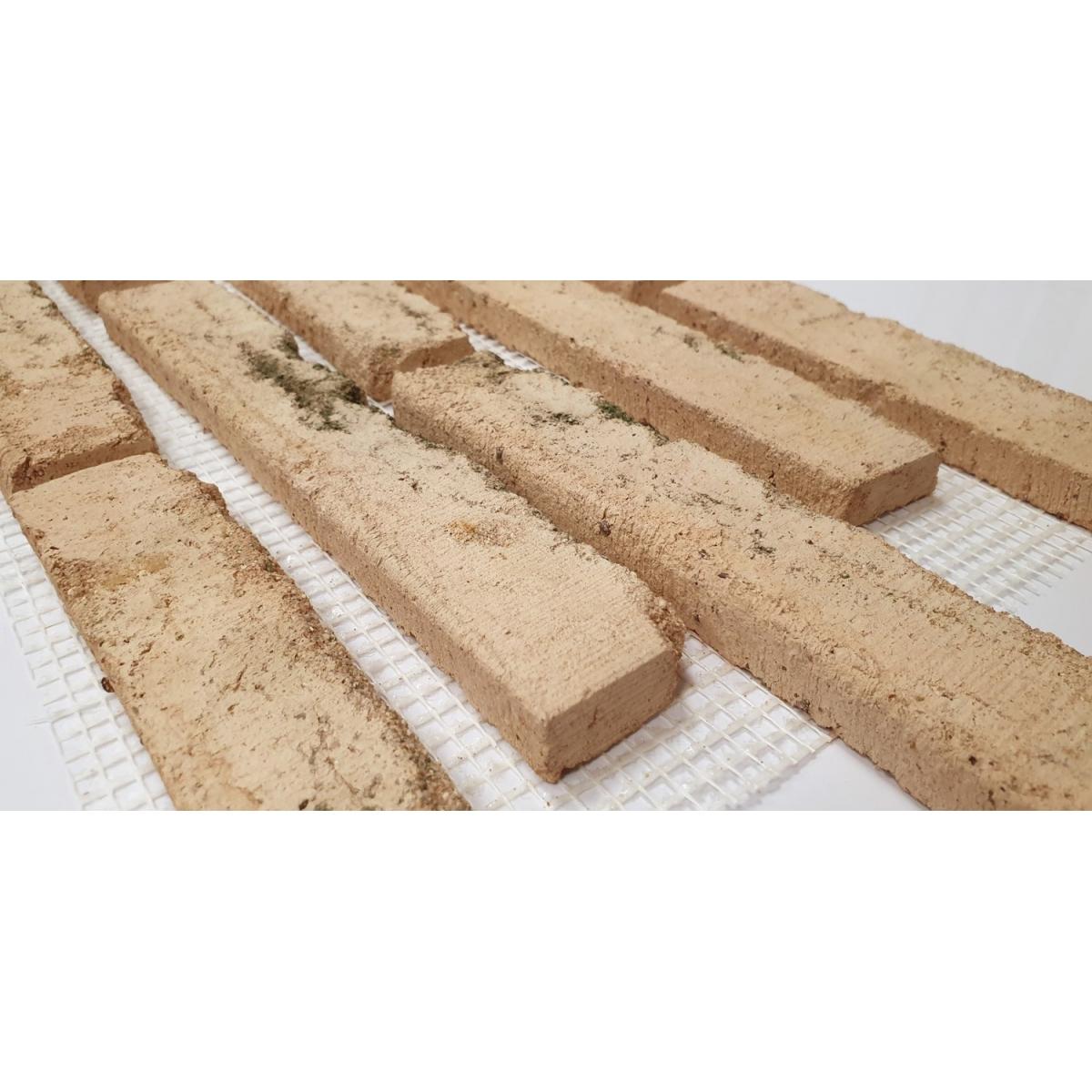 Plaqueta de ladrillo enmallada para revestimiento interior y exterior tono musgo