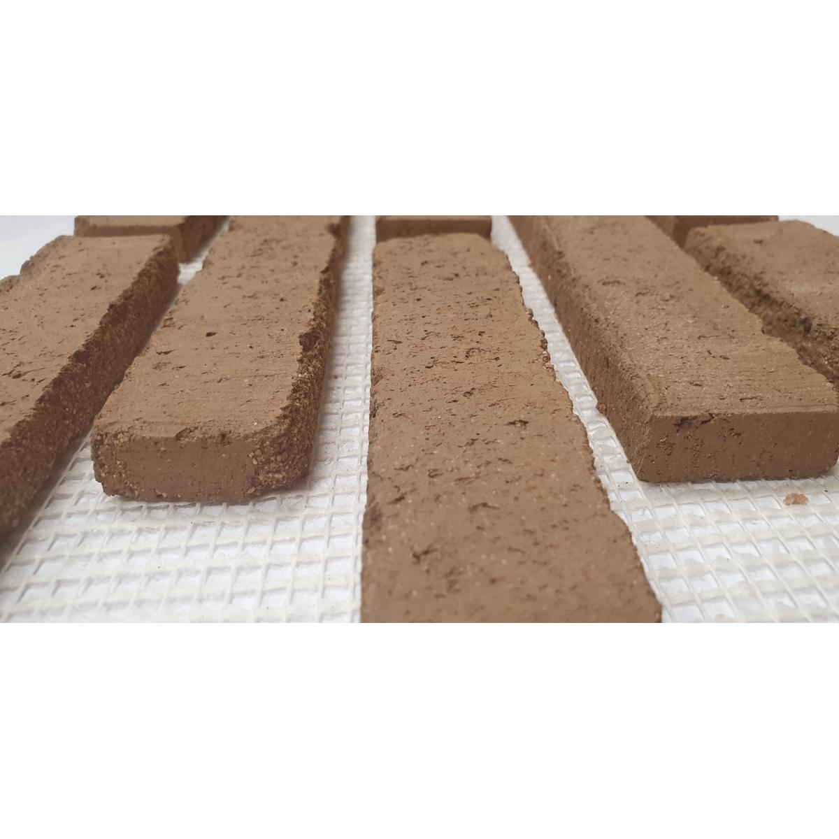 Plaqueta de ladrillo rustico enmallada para revestimiento interior y exterior tono marron
