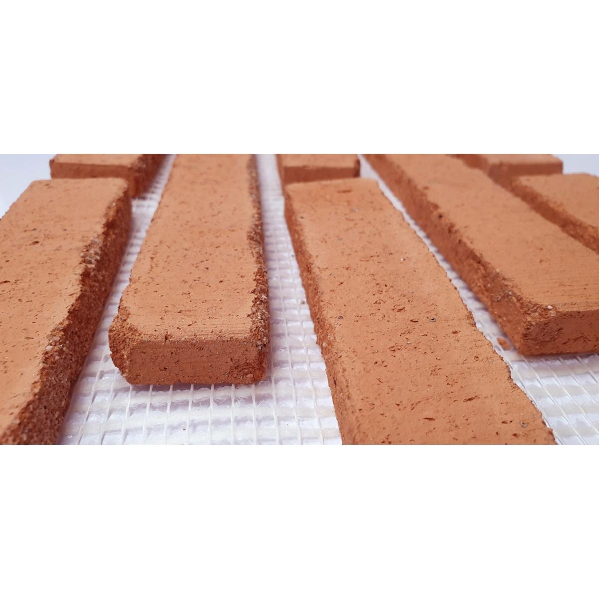 Plaqueta de ladrillo rustico enmallada para revestimiento interior y exterior tono salmon