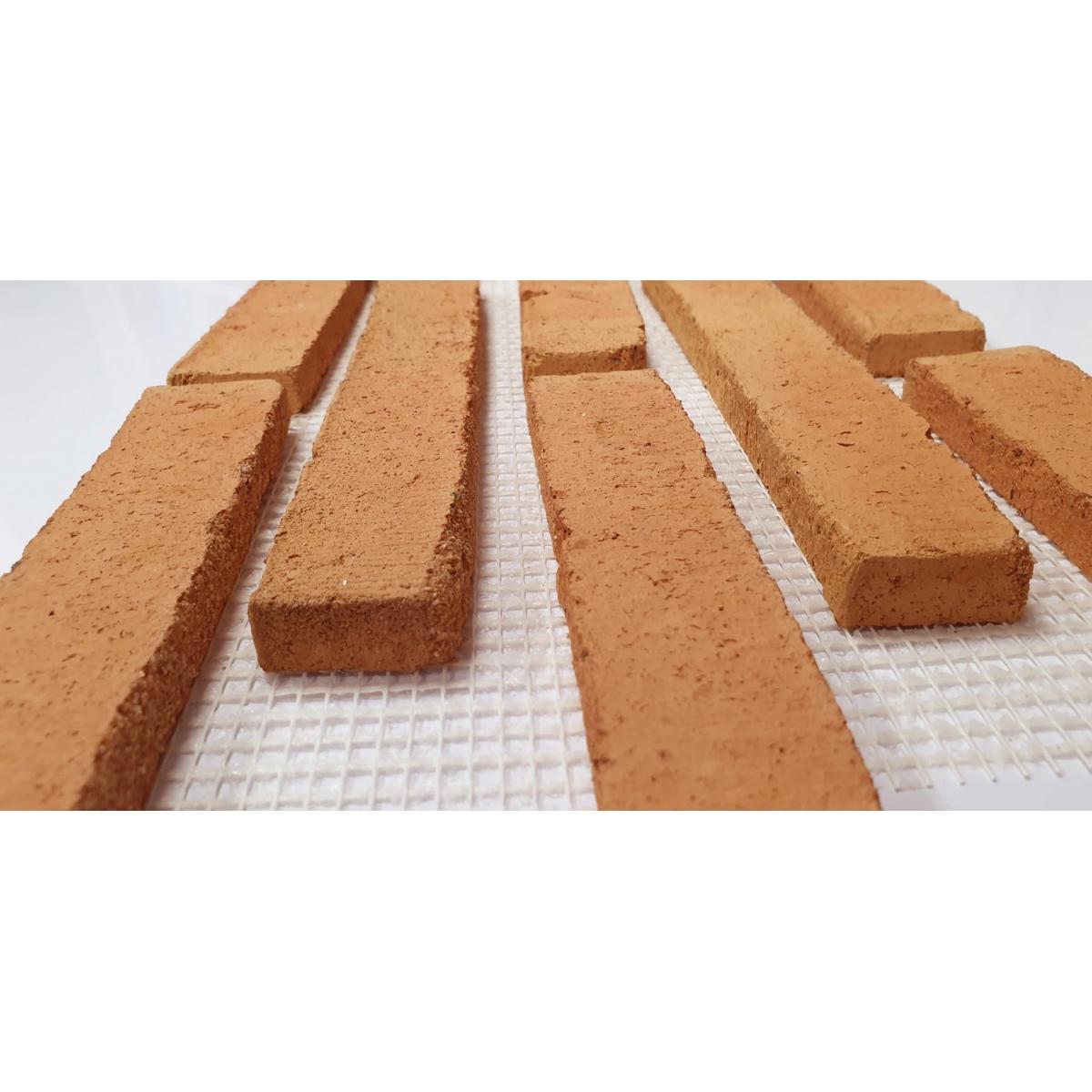 Plaqueta de ladrillo rustico enmallada para revestimiento interior y exterior tono envejecido