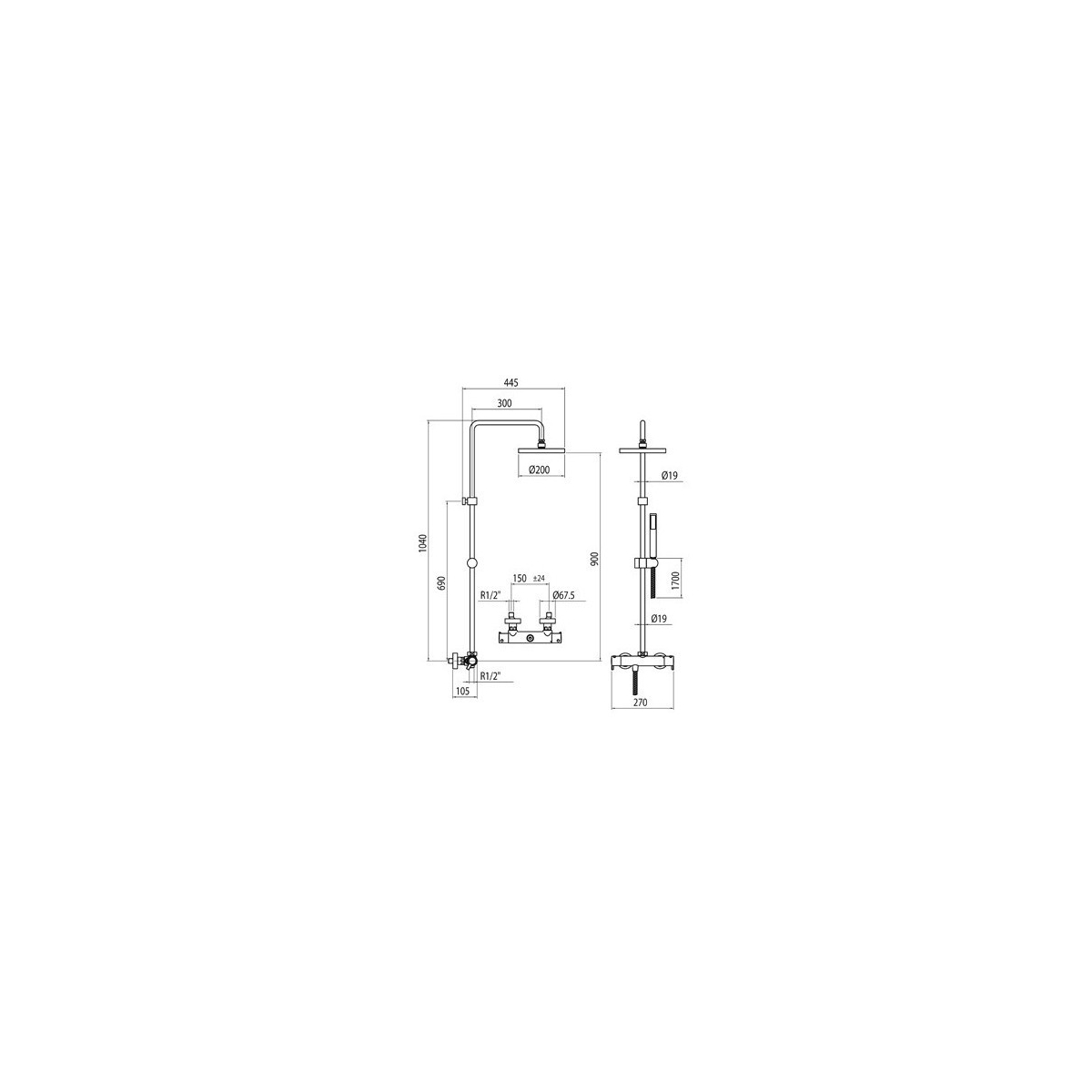 Conjunto de ducha con grifería termostática modelo Termodrako