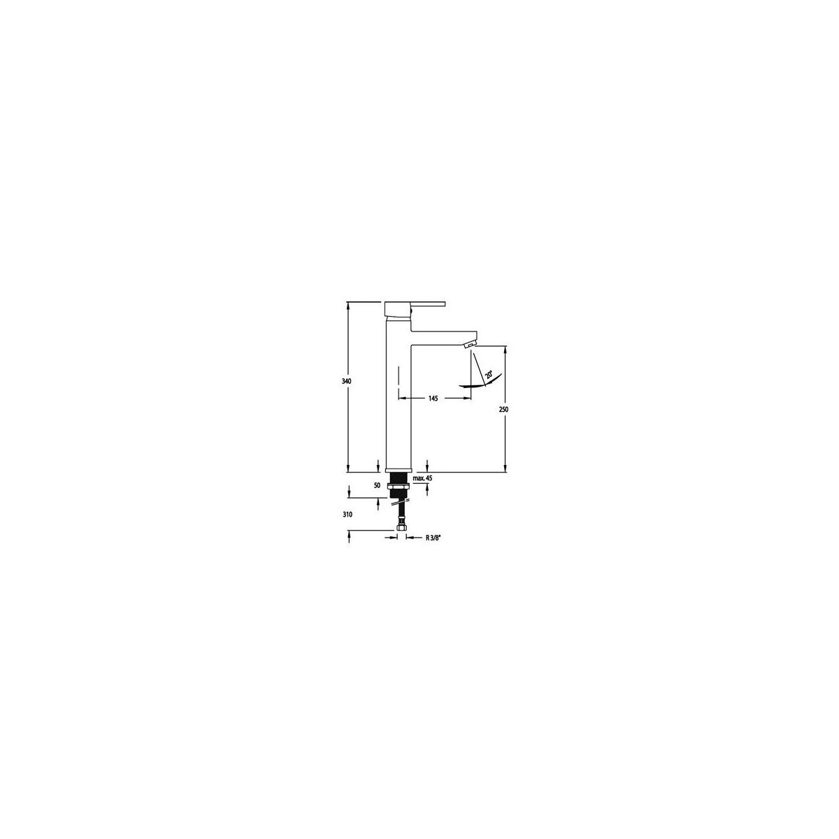 Grifo con caño alto para lavabo modelo Drako 3310