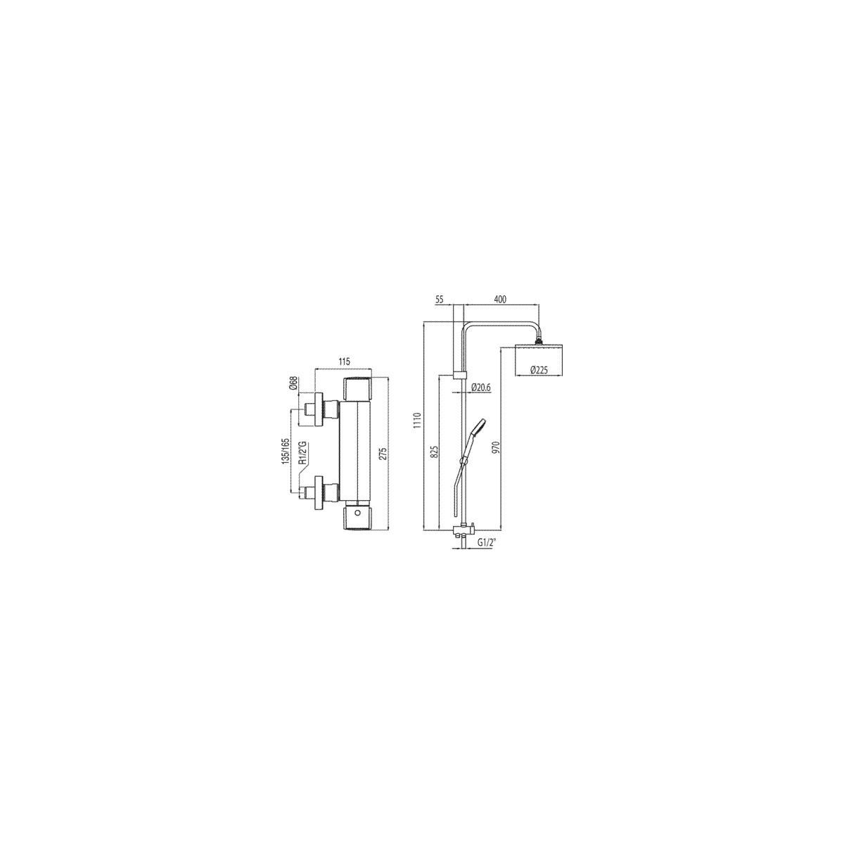 Grifería termostática modelo Lex