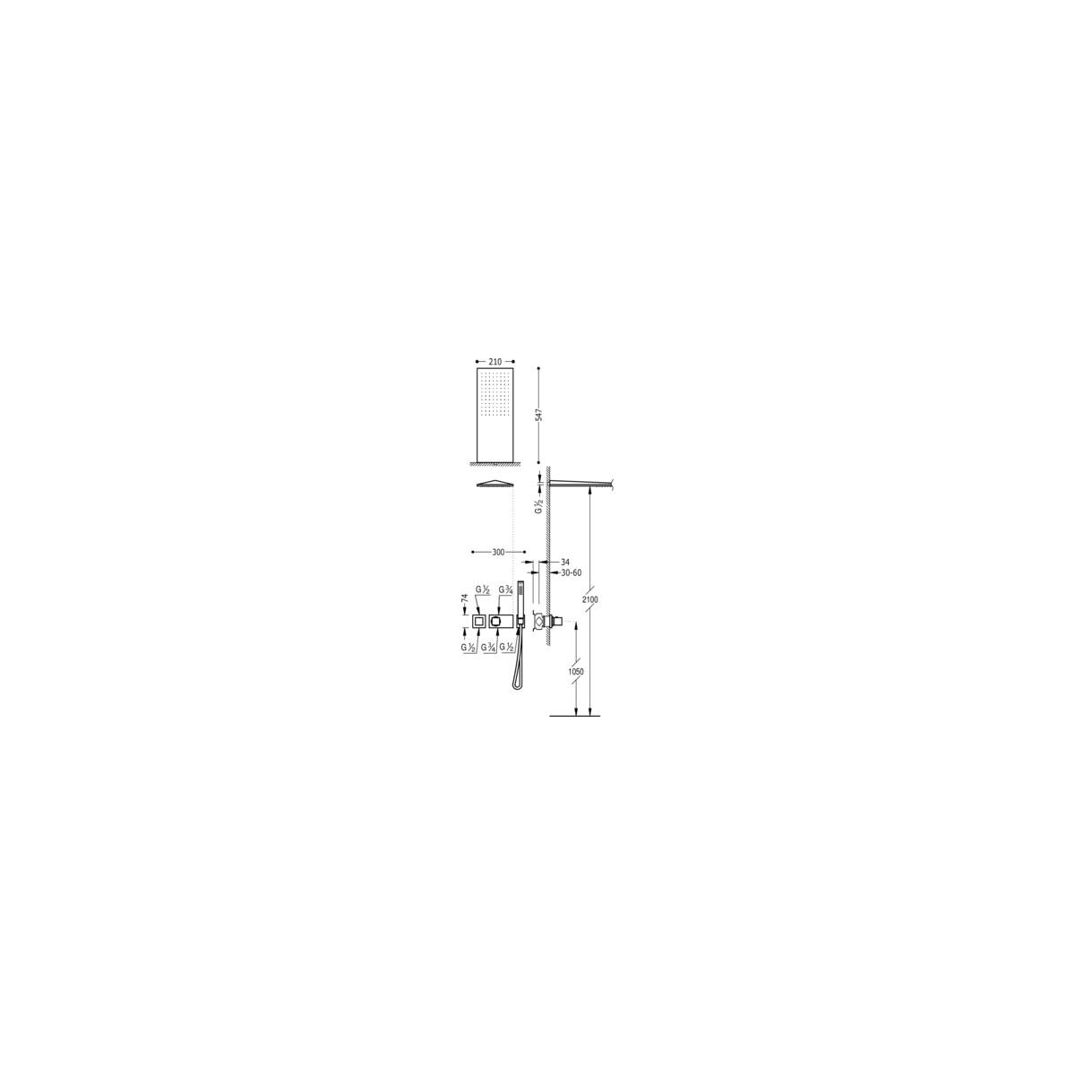 Conjunto ducha termostático empotrado 2 vías cuadro exclusive