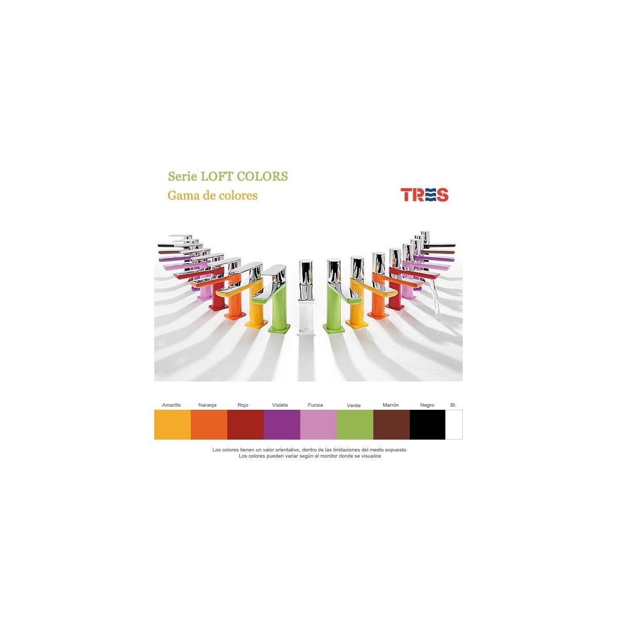 Monomando Lavabo Curvo Loft Colors Tres