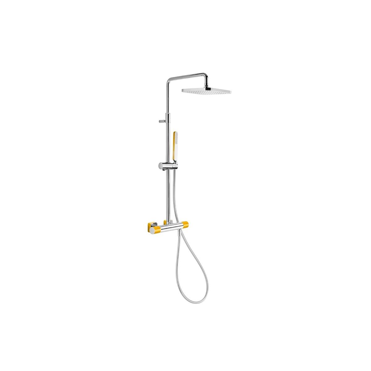 Conjunto de ducha termostática barra telescópica