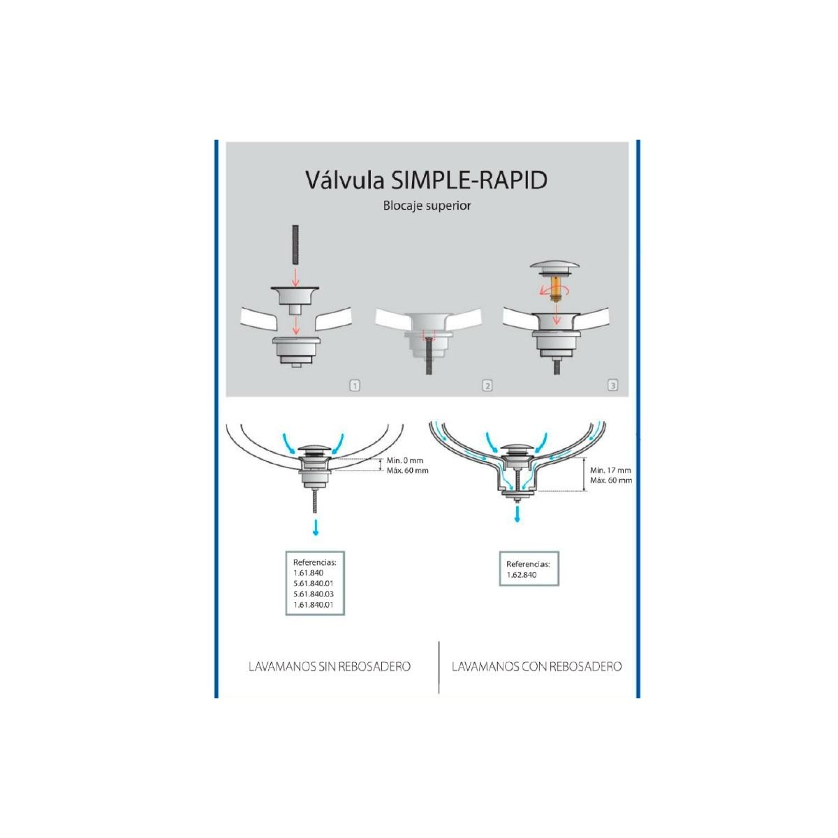 Válvula Redonda Lavabo Simple-Rapid