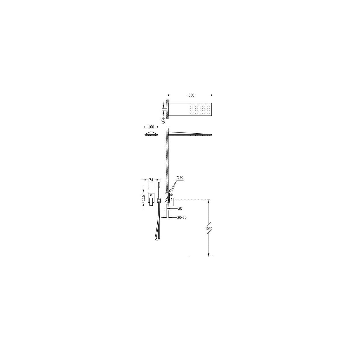 Conjunto ducha termostático empotrado 2 vías Cuadro