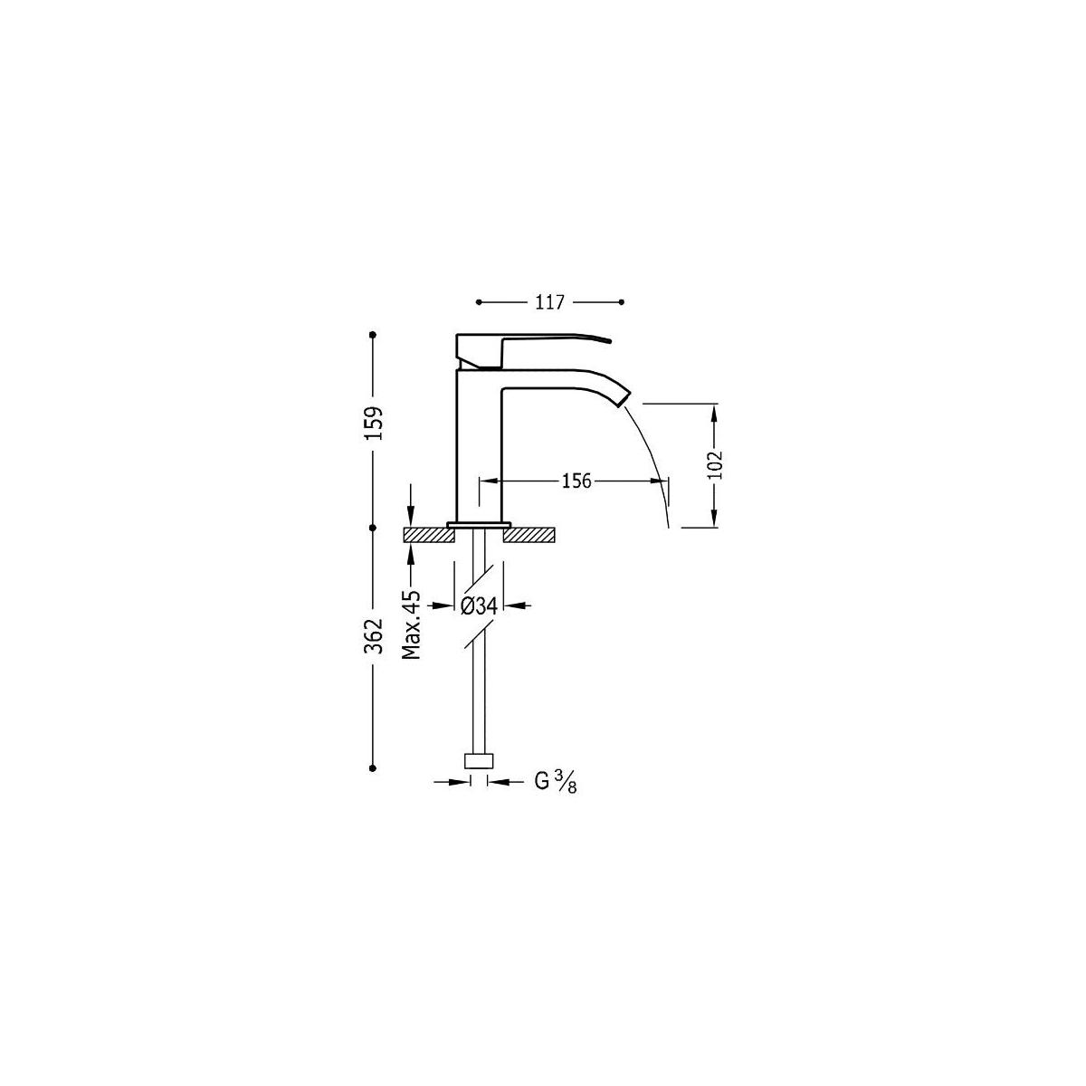 Grifo lavabo Cuadro 159mm