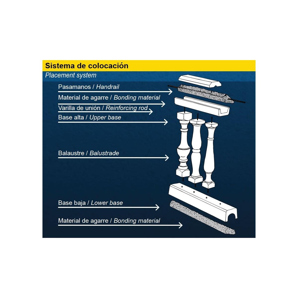Base balaustrada alta - Balaustradas - Marca Prefabricados López