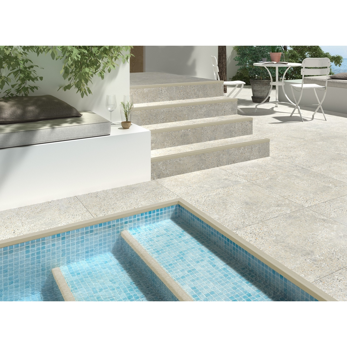 Perfil universal peldaños y piscinas Astra Nori color cemento