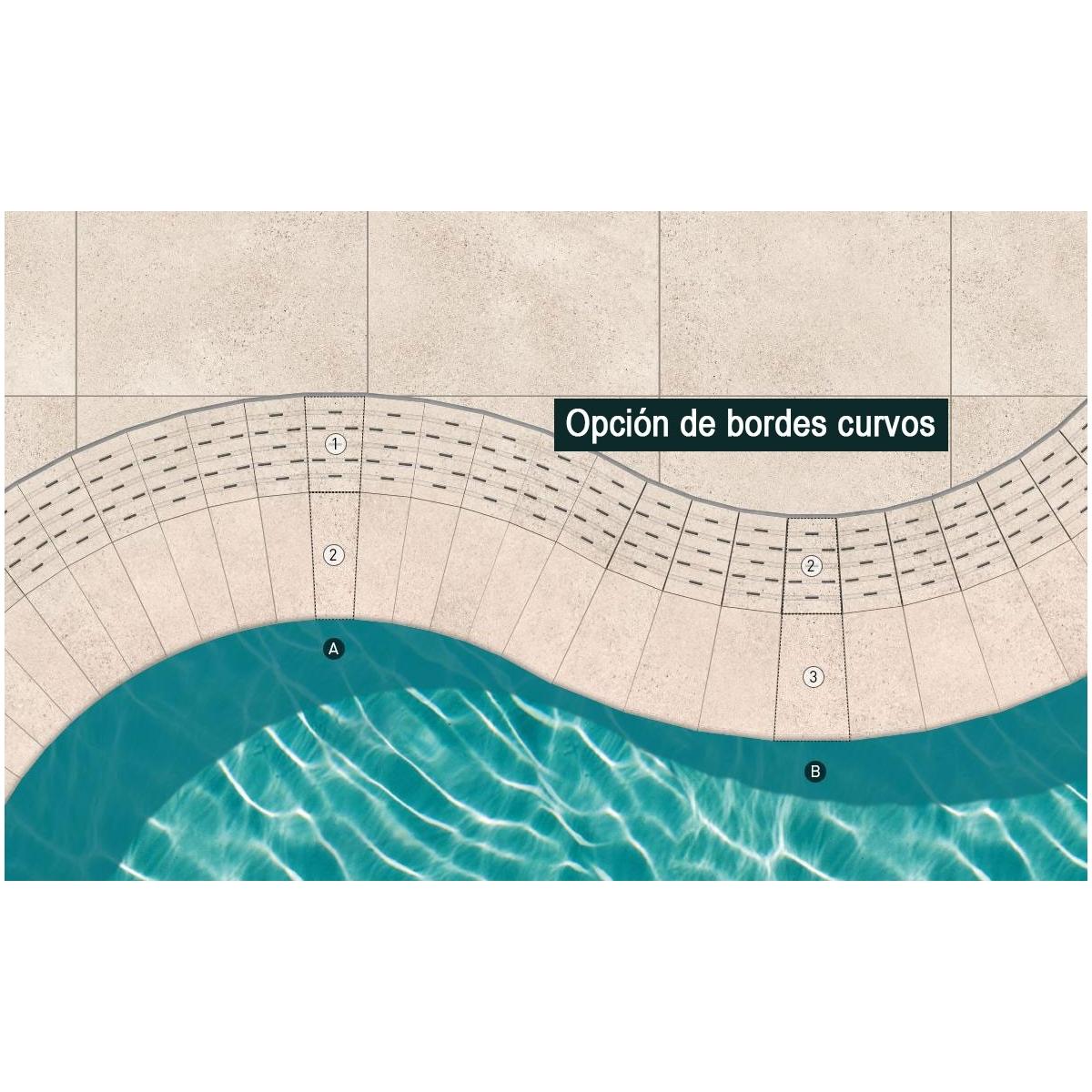 Borde de piscina Creta Stromboli Silver 33x50 Cerámicas Mayor