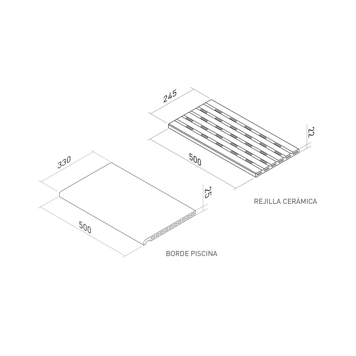 Rejilla de piscina Stromboli Silver 25x50 Cerámicas Mayor
