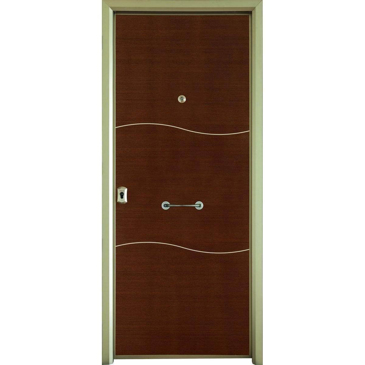 Puerta acorazada Turín en madera color wengué