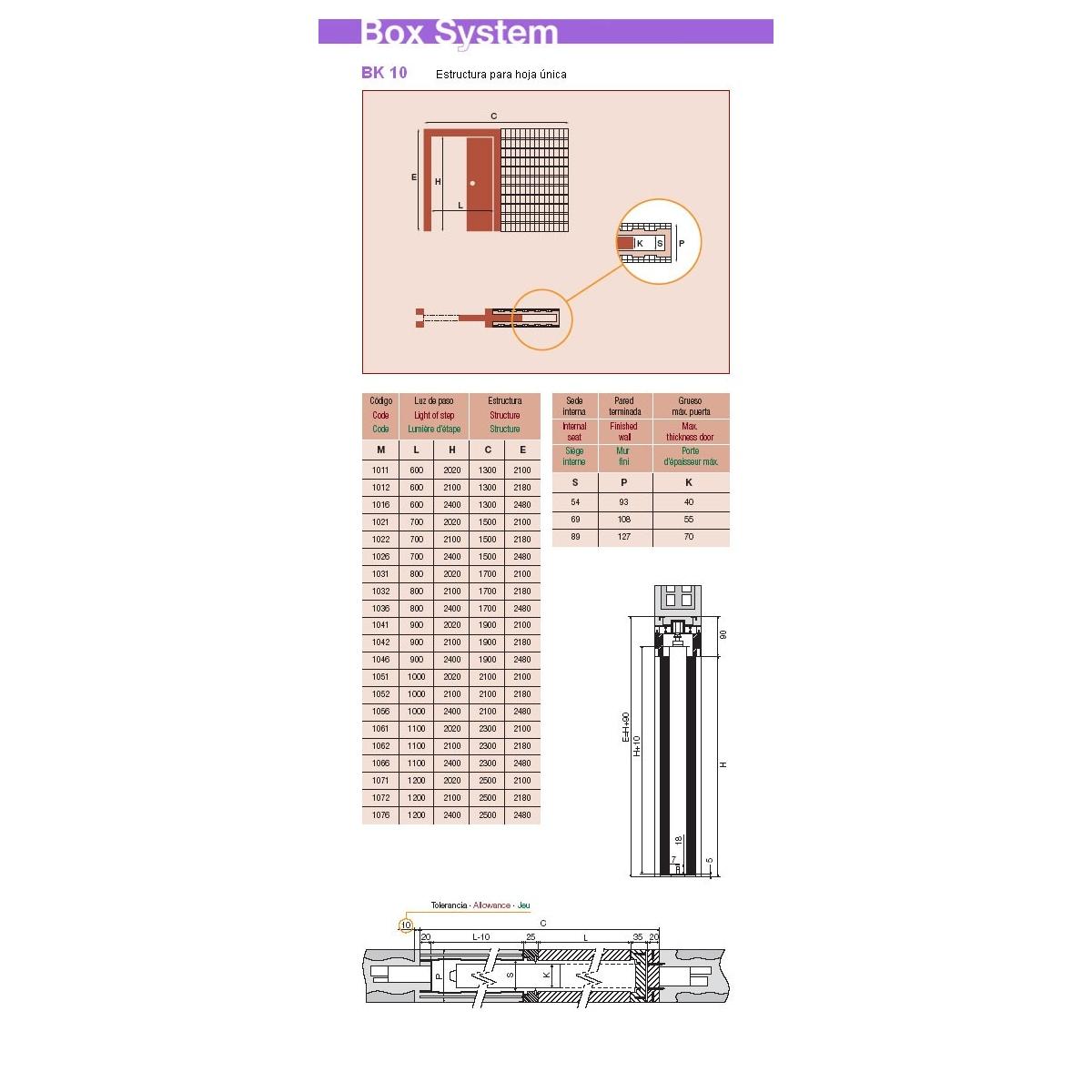 0 Estructura puerta corredera 600 x 2020 x 69 mm