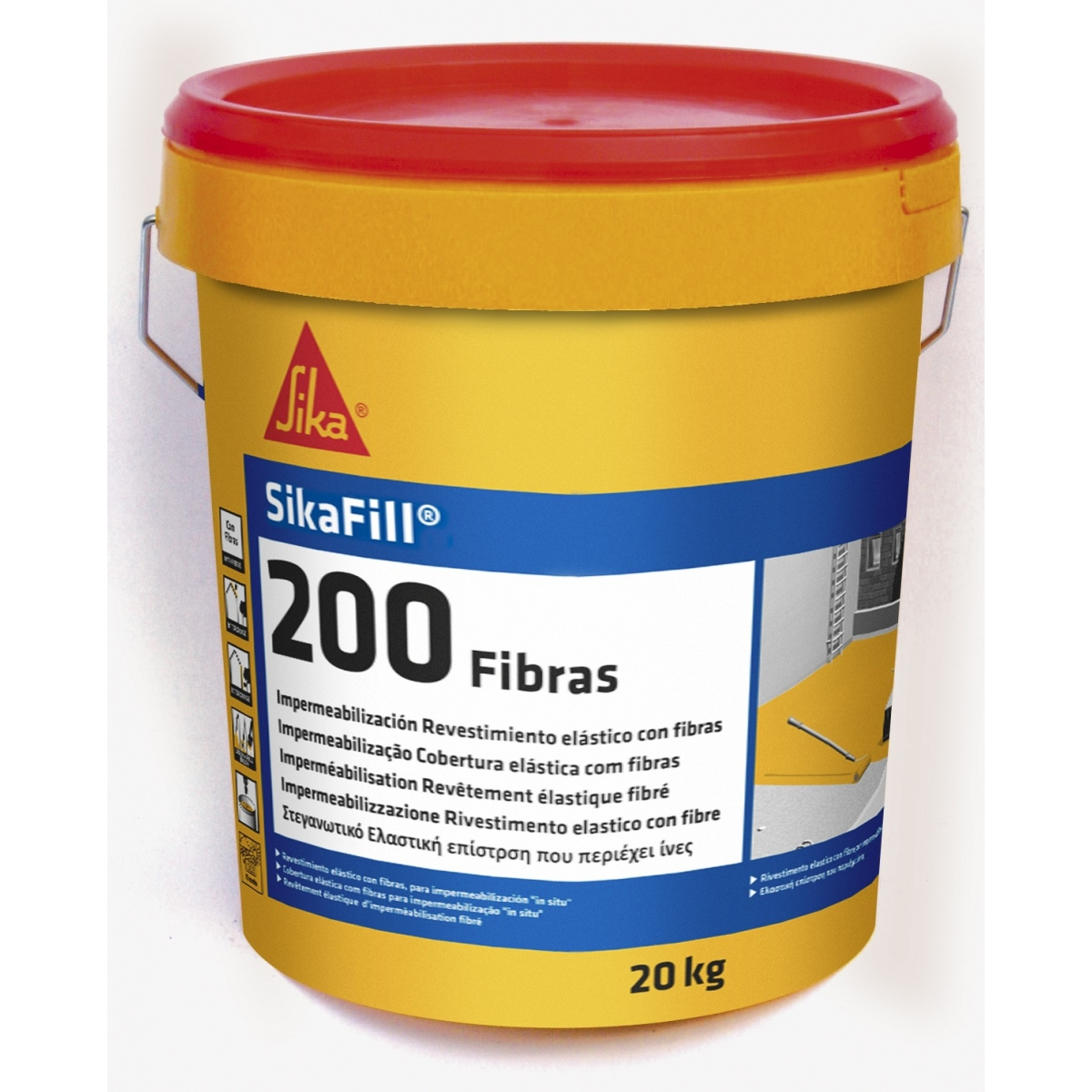 Sikafill 200 Fibras 20kg - Terrazas, balcones y azoteas - Marca Sika