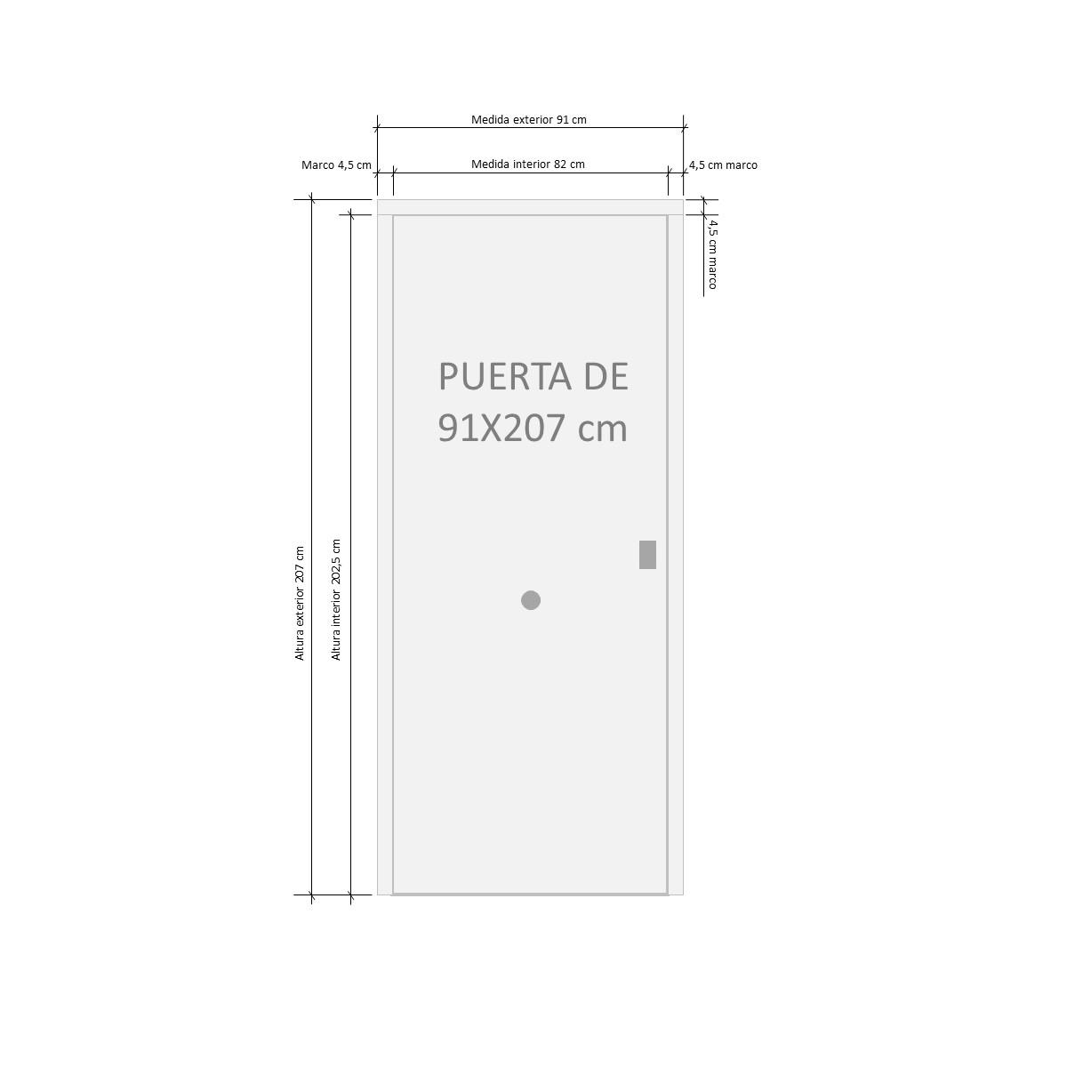 Puerta acorazada Milán 1 Glass - Esquema de medidas