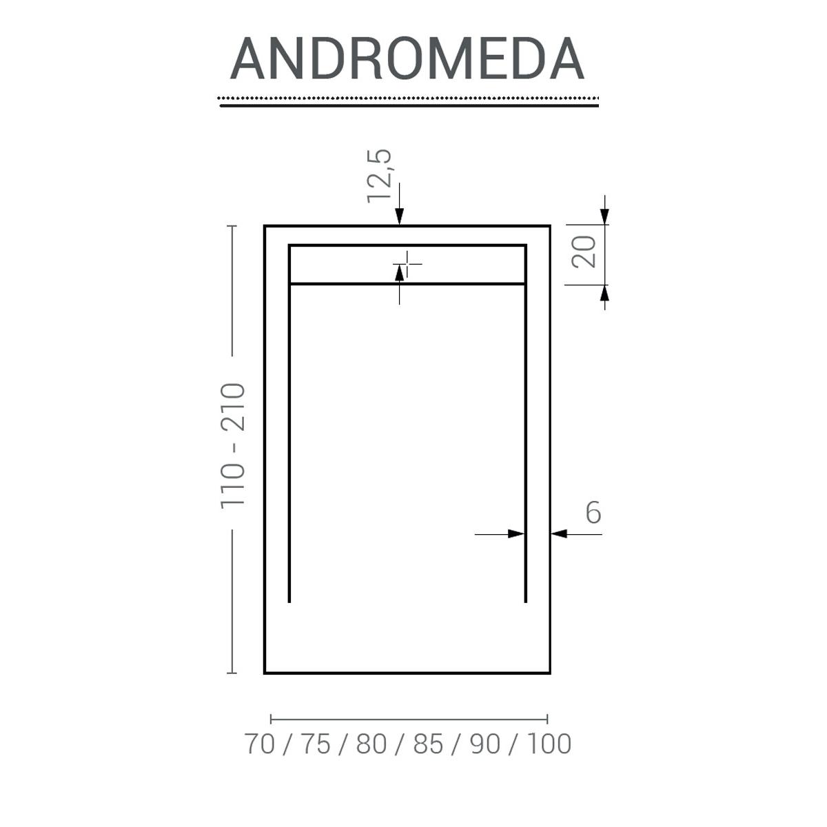 Plato de ducha rectangular 120x80 Andrómeda Stone Cover Fango