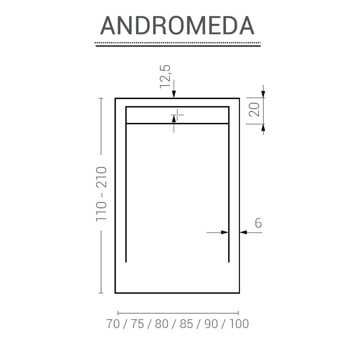 Plato de ducha rectangular 100x80 Andrómeda Stone Cover Grafito