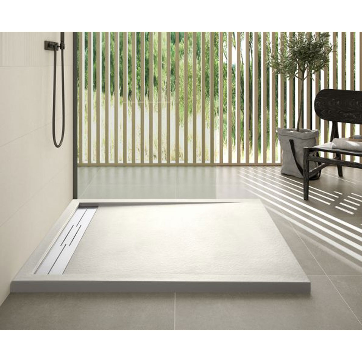 Plato de ducha rectangular 100x80 Andrómeda Stone Cover Nox R1 Beige