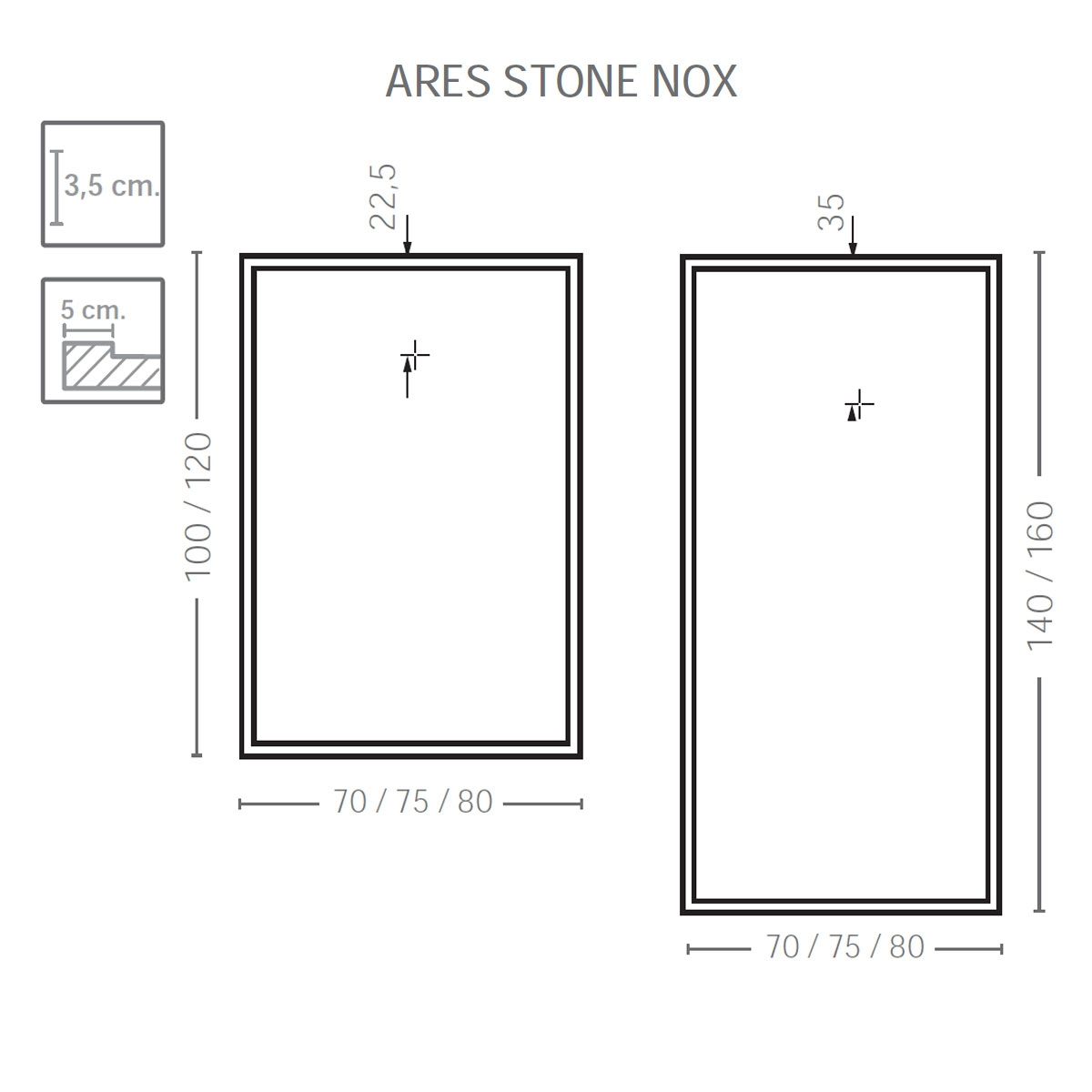 Plato de ducha rectangular 120x80 Ares Stone Nox Cemento