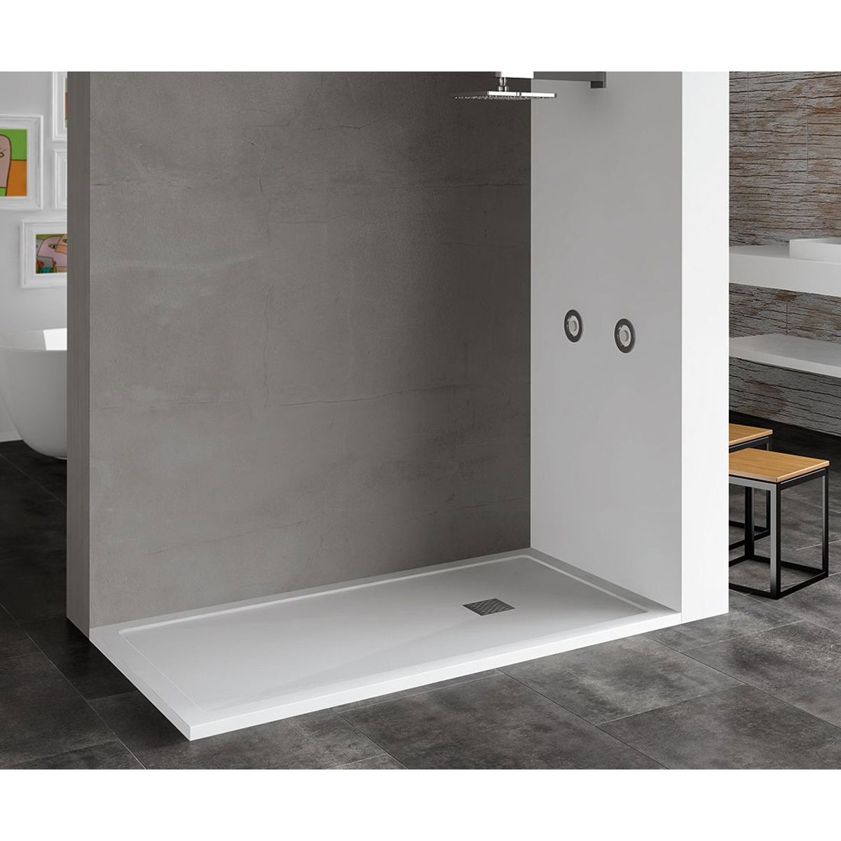 Plato de ducha rectangular 100x80 Ares Stone Nox Cemento