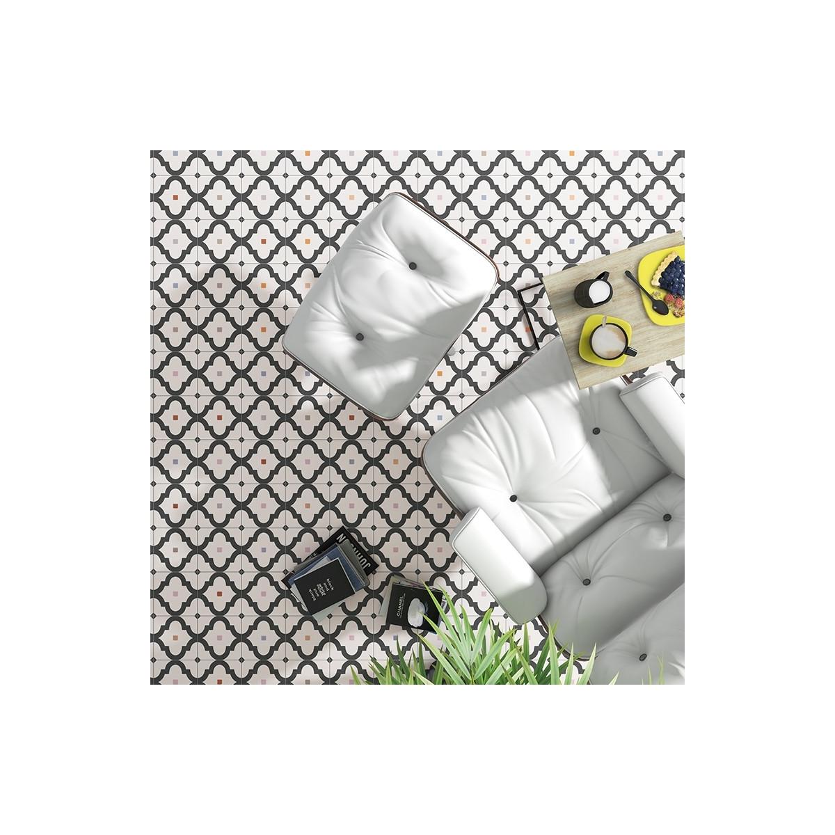 Ladakhi Grafito 20x20 (m2) - Suelo hidráulico Porcelánico antideslizante Vives