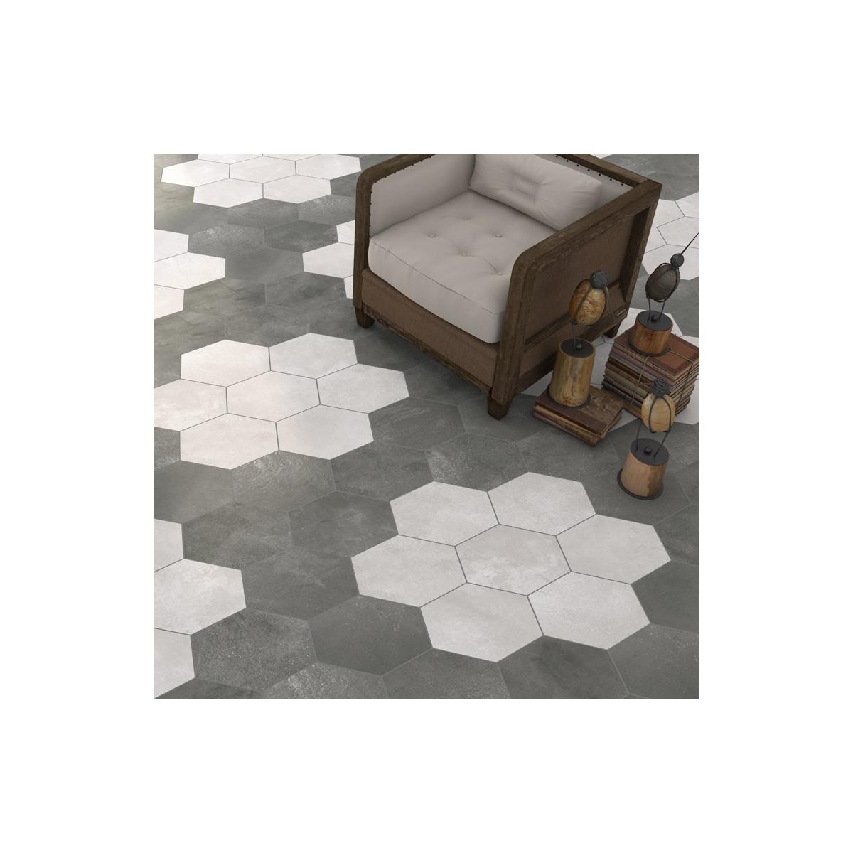 Rift Cemento Hexagonal Pavimento porcelánico forma de hexágono