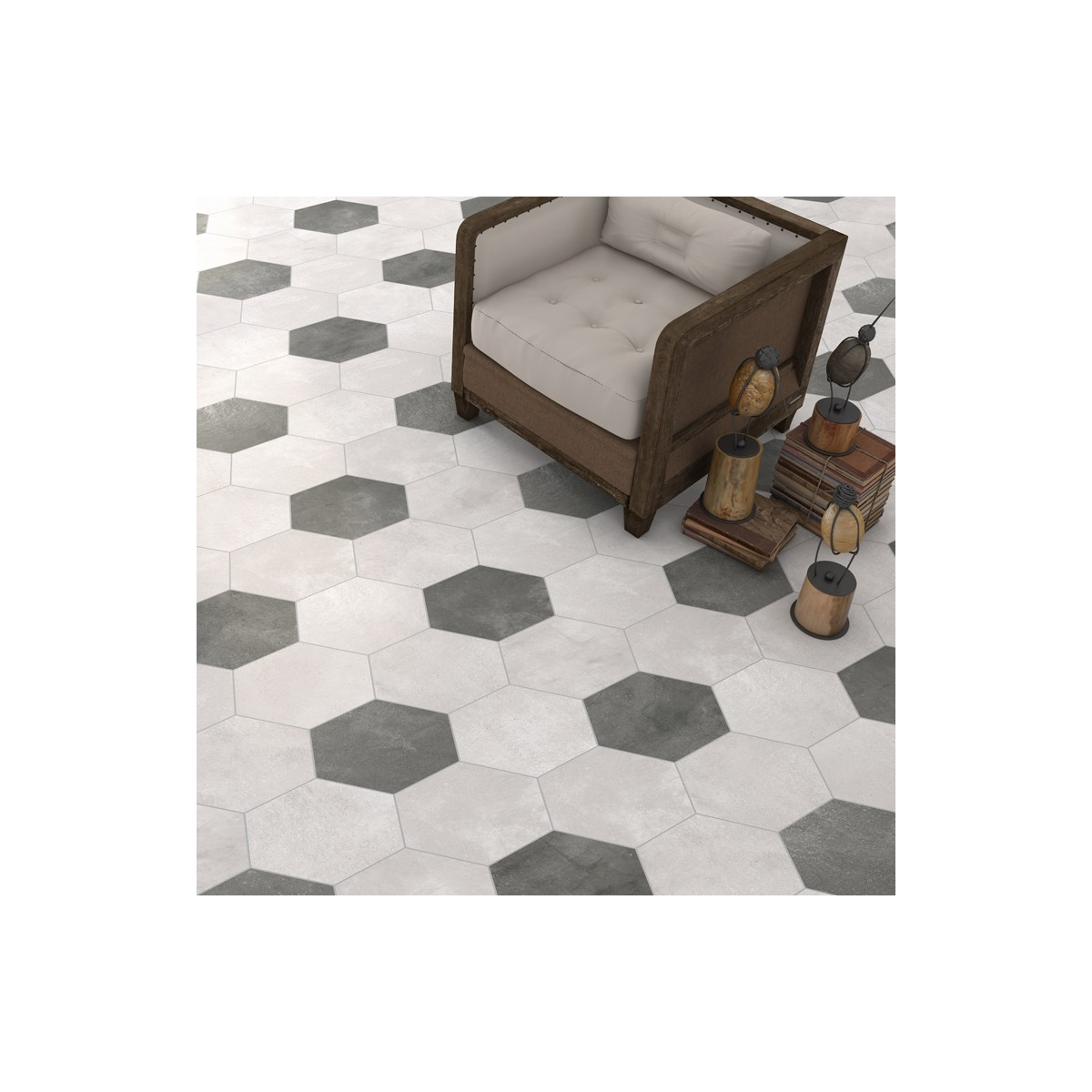 Rift Cemento Hexagonal (caja 0.5 m2) Vives