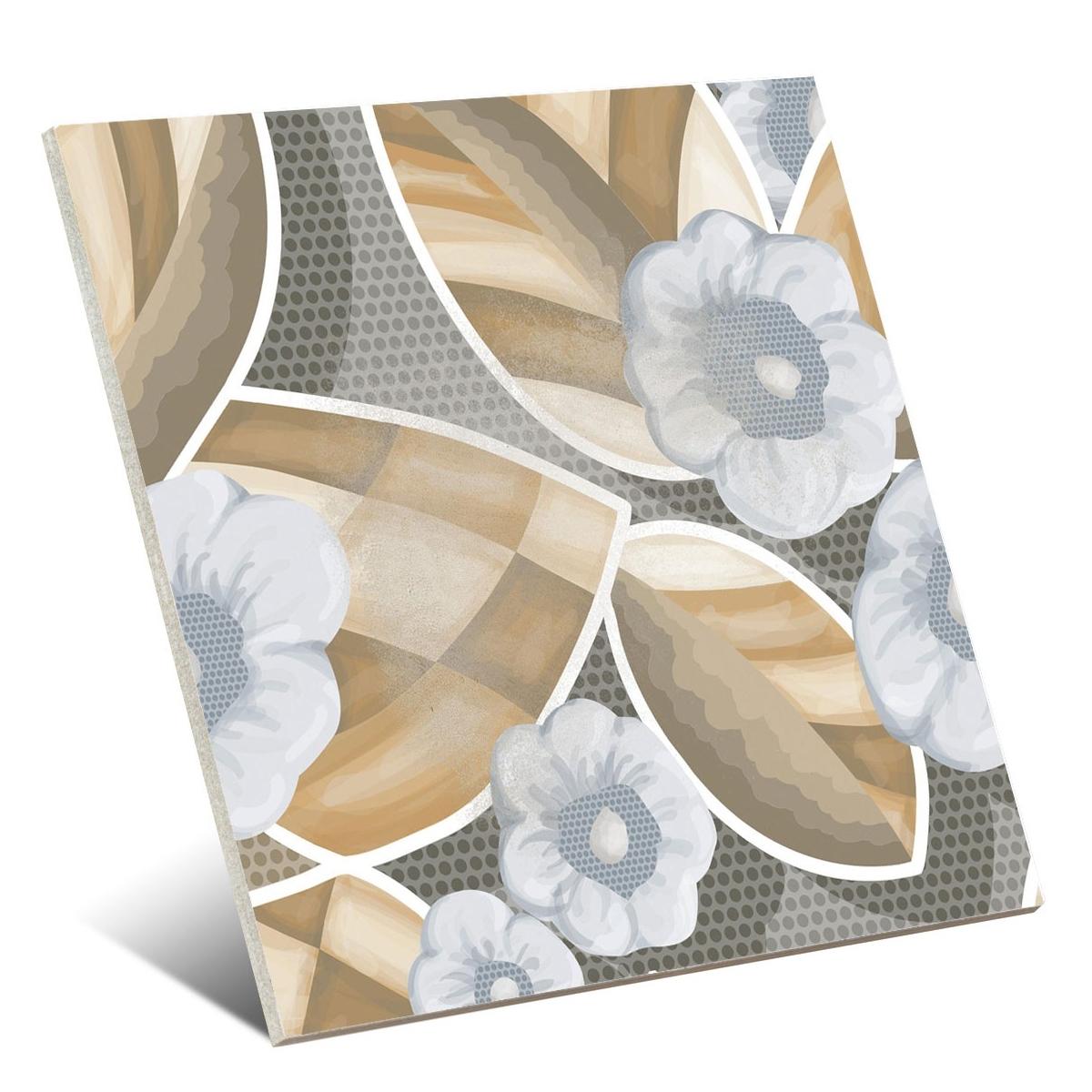 Flore Gris 20x20 - Pavimento hidráulico Porcelánico para interior y exterior